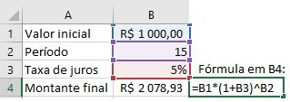 Juros compostos Excel