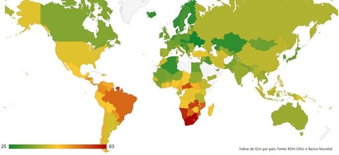 Índice de Gini no Brasil e no Mundo