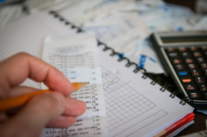 Contas, calculadora, números, dinheiro, salário