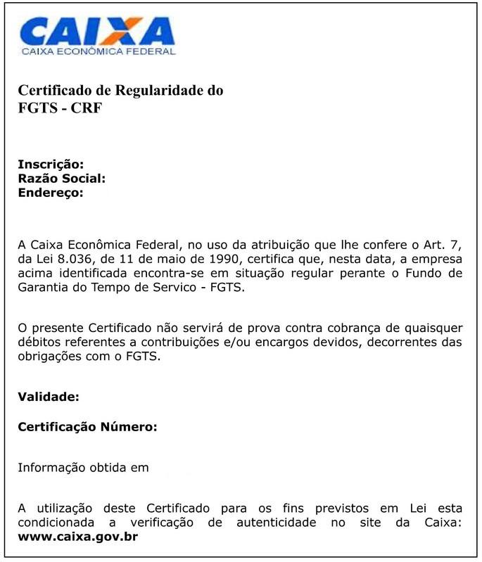 CRF FGTS exemplo em branco