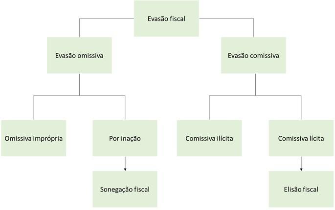 Categorias e tipos de evasão fiscal que levam à sonegação ou à elisão fiscal