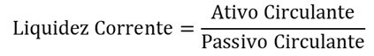Fórmula para se calcular o índice de liquidez corrente dividindo o ativo circulante pelo passivo circulante da companhia