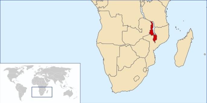 Localização Malawi