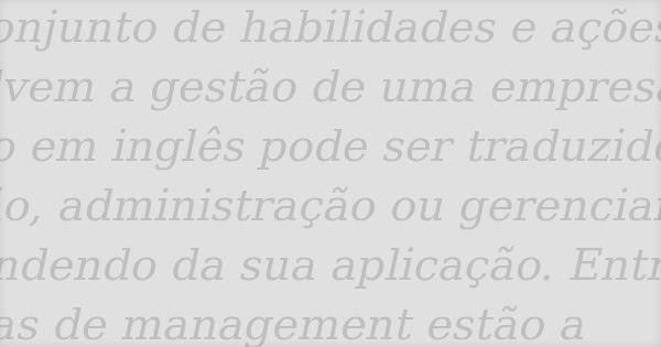 O que significa management em português