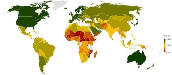 Mapa mundi com IDH (HDI)
