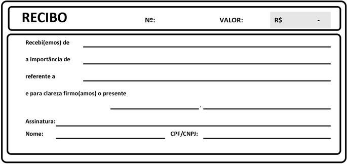 exemplo de modelo de recibo em branco