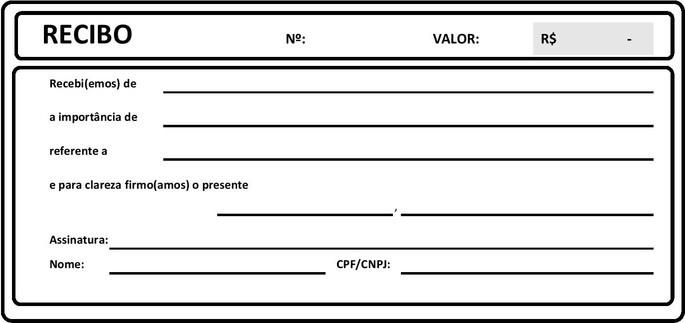 Exemplo de modelo de recibo de pagamento