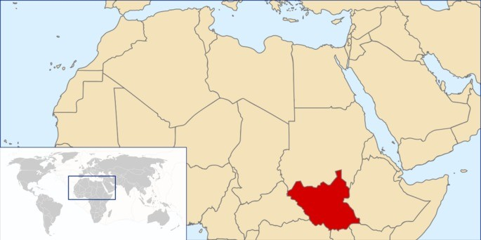 Localização Sudão do Sul